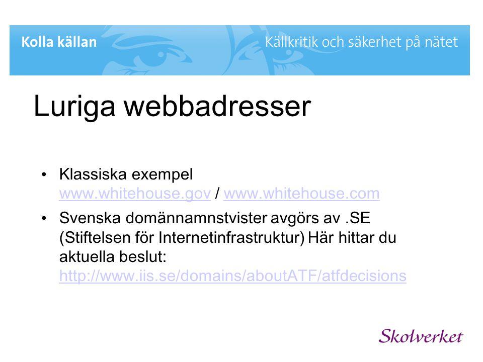Luriga webbadresser Klassiska exempel www.whitehouse.gov / www.whitehouse.com.