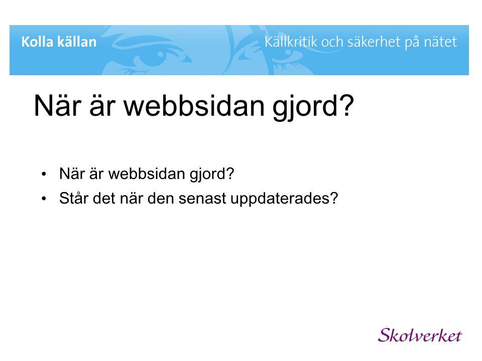 När är webbsidan gjord När är webbsidan gjord
