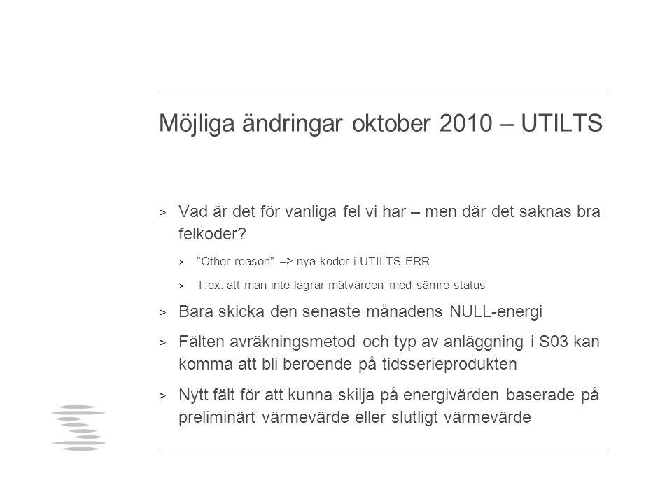 Möjliga ändringar oktober 2010 – UTILTS