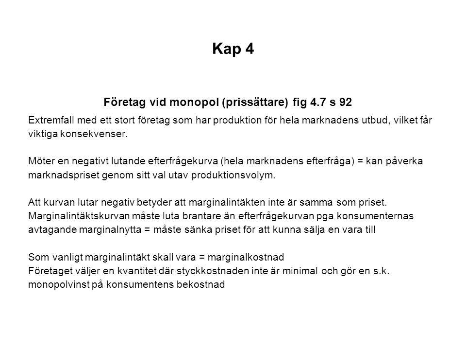 Företag vid monopol (prissättare) fig 4.7 s 92