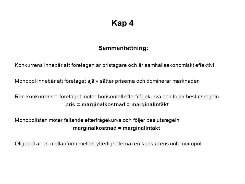 Kap 4 Sammanfattning: Konkurrens innebär att företagen är pristagare och är samhällsekonomiskt effektivt.