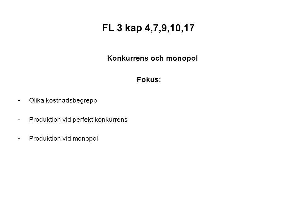 FL 3 kap 4,7,9,10,17 Konkurrens och monopol Fokus: