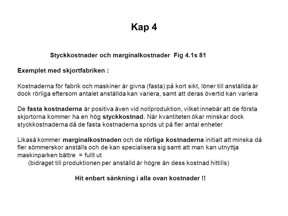 Kap 4 Styckkostnader och marginalkostnader Fig 4.1s 81