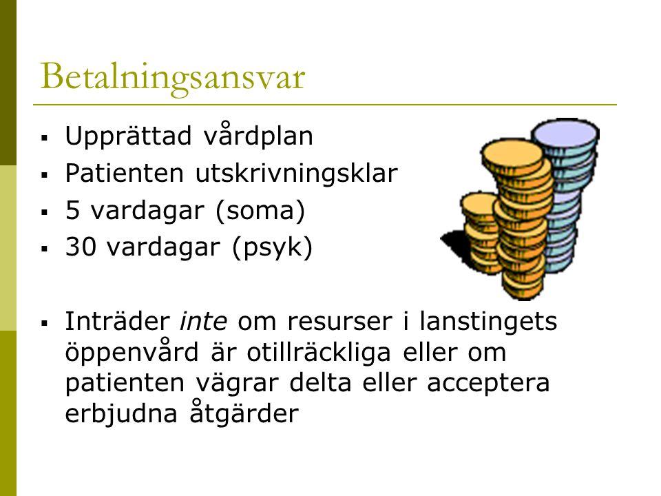 Betalningsansvar Upprättad vårdplan Patienten utskrivningsklar