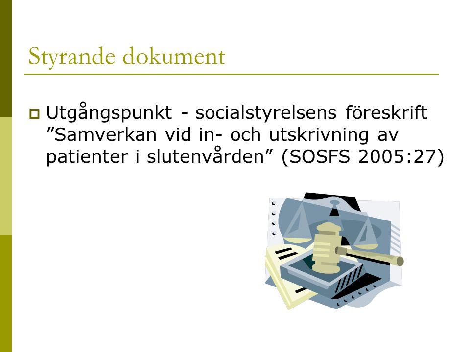 Styrande dokument Utgångspunkt - socialstyrelsens föreskrift Samverkan vid in- och utskrivning av patienter i slutenvården (SOSFS 2005:27)