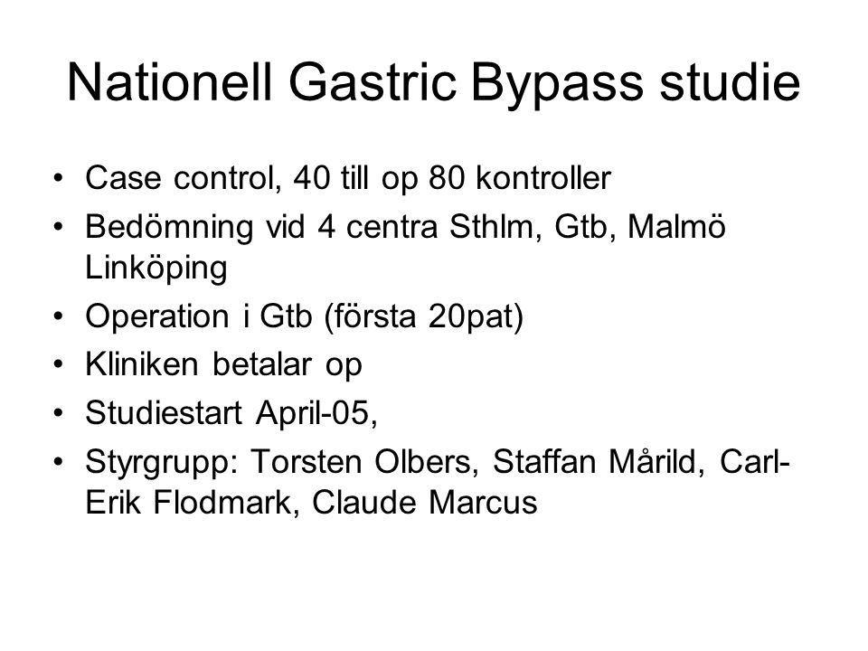 Nationell Gastric Bypass studie