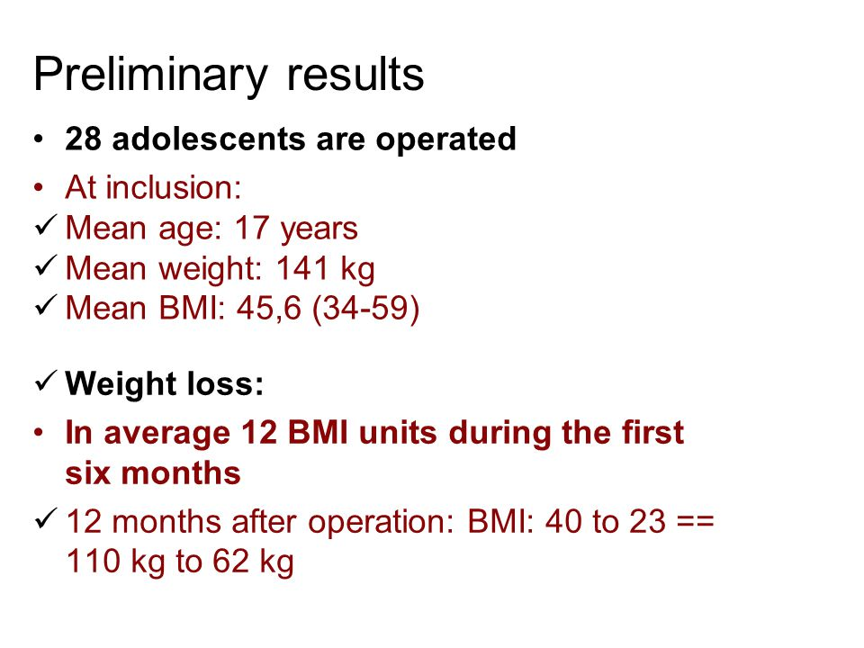 Preliminary results 28 adolescents are operated At inclusion: