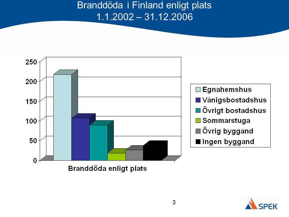 Branddöda i Finland enligt plats 1.1.2002 – 31.12.2006