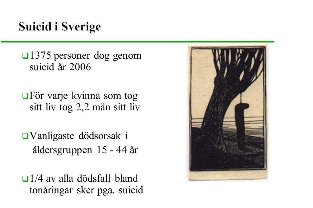 Suicid i Sverige 1375 personer dog genom suicid år 2006