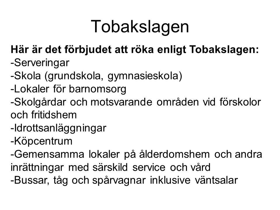Tobakslagen Här är det förbjudet att röka enligt Tobakslagen: