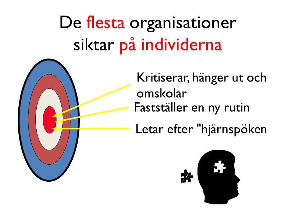 De flesta organisationer siktar på individerna