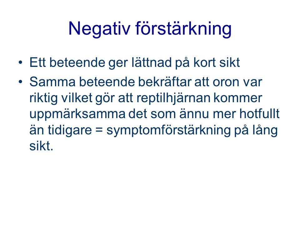 Negativ förstärkning Ett beteende ger lättnad på kort sikt