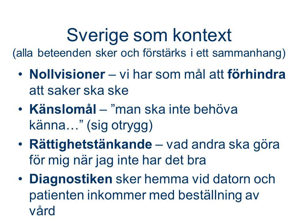 Sverige som kontext (alla beteenden sker och förstärks i ett sammanhang)