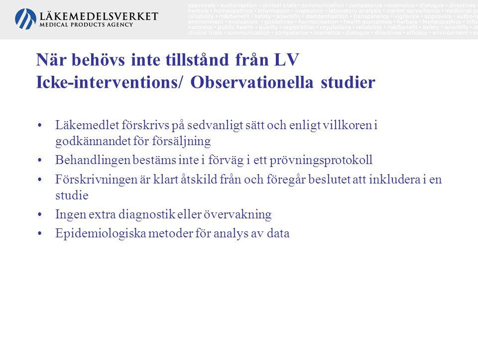 När behövs inte tillstånd från LV Icke-interventions/ Observationella studier