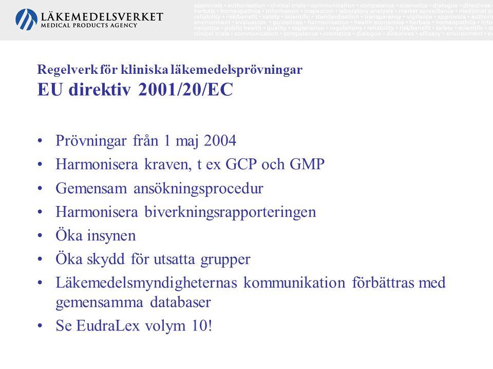 Regelverk för kliniska läkemedelsprövningar EU direktiv 2001/20/EC