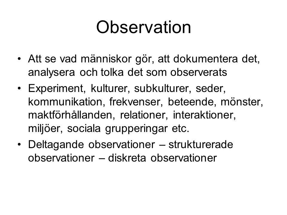 Observation Att se vad människor gör, att dokumentera det, analysera och tolka det som observerats.