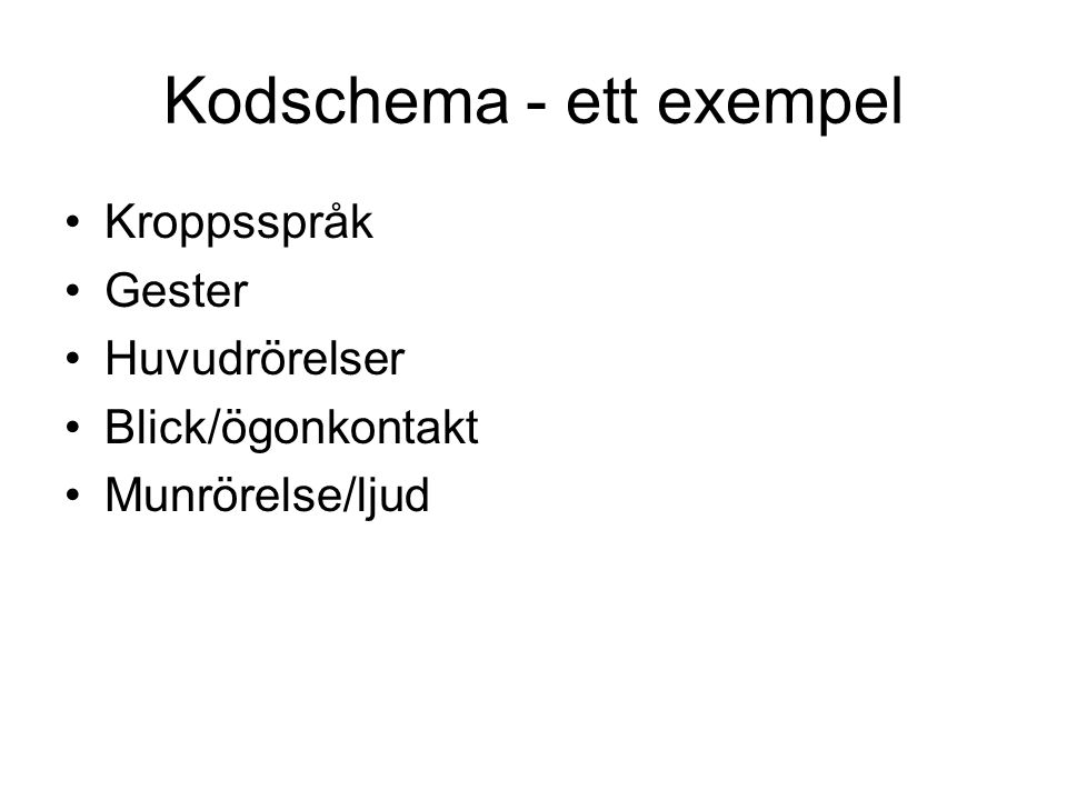 Kodschema - ett exempel