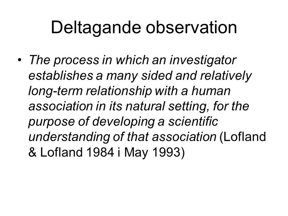 Deltagande observation metod