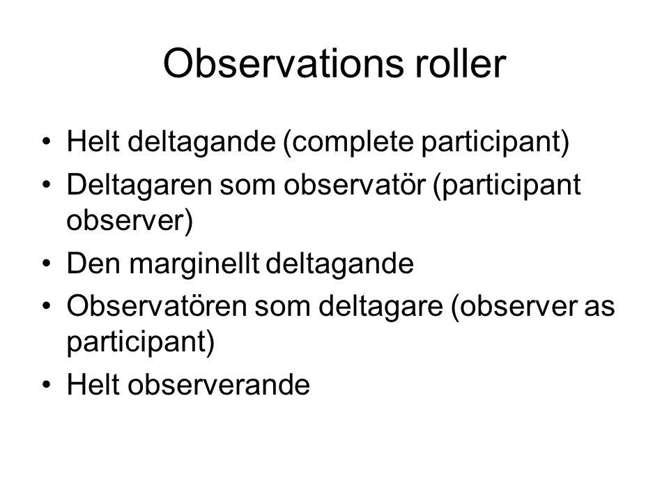 Observations roller Helt deltagande (complete participant)