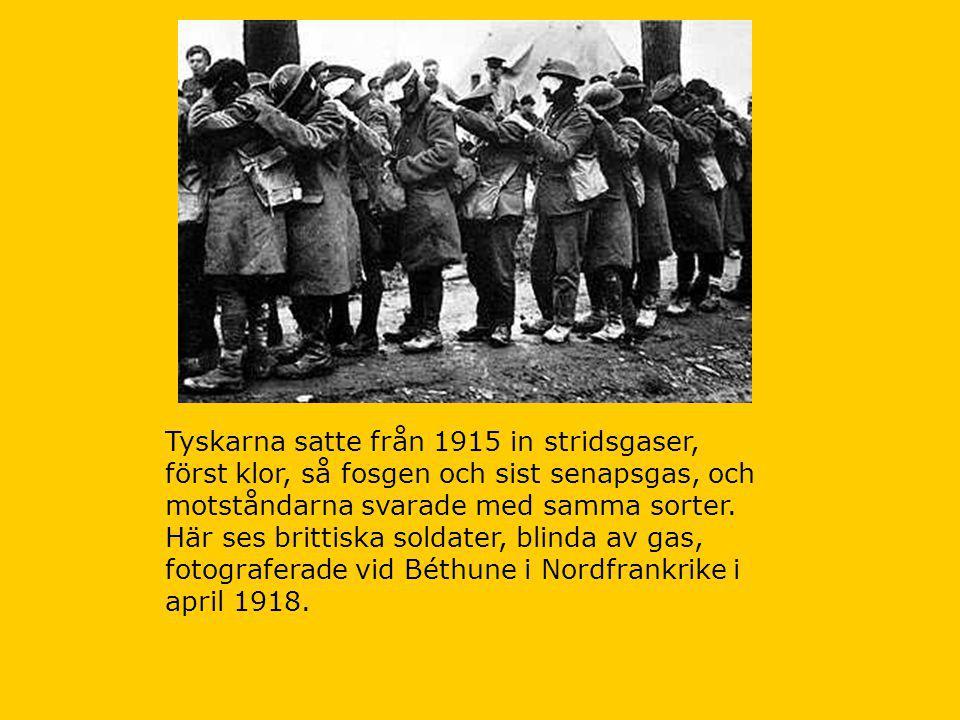 Tyskarna satte från 1915 in stridsgaser, först klor, så fosgen och sist senapsgas, och motståndarna svarade med samma sorter.