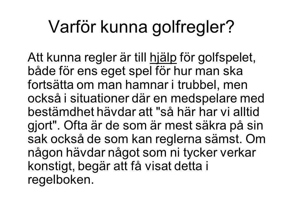 Varför kunna golfregler