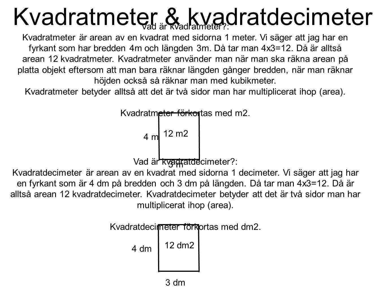 Kvadratmeter & kvadratdecimeter