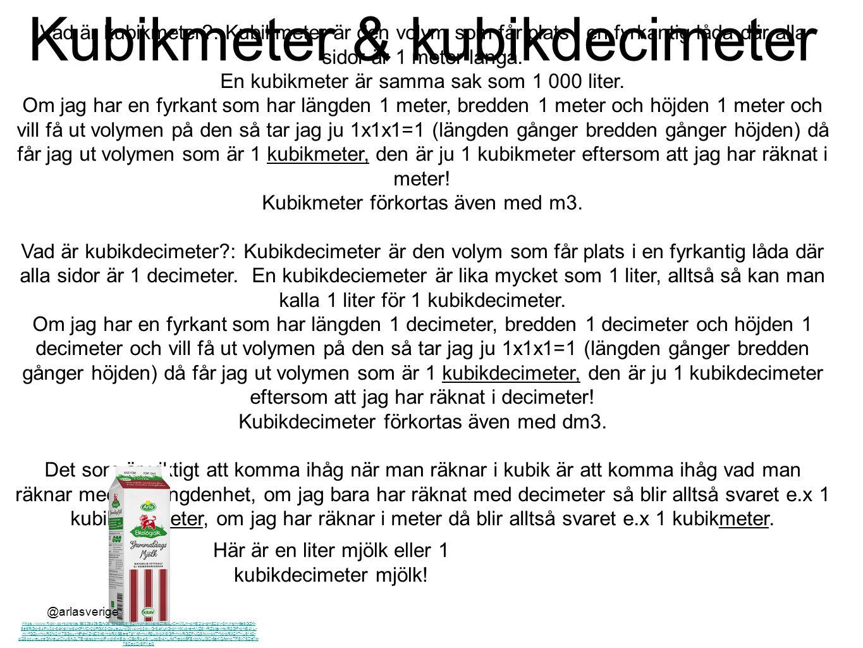 Kubikmeter & kubikdecimeter