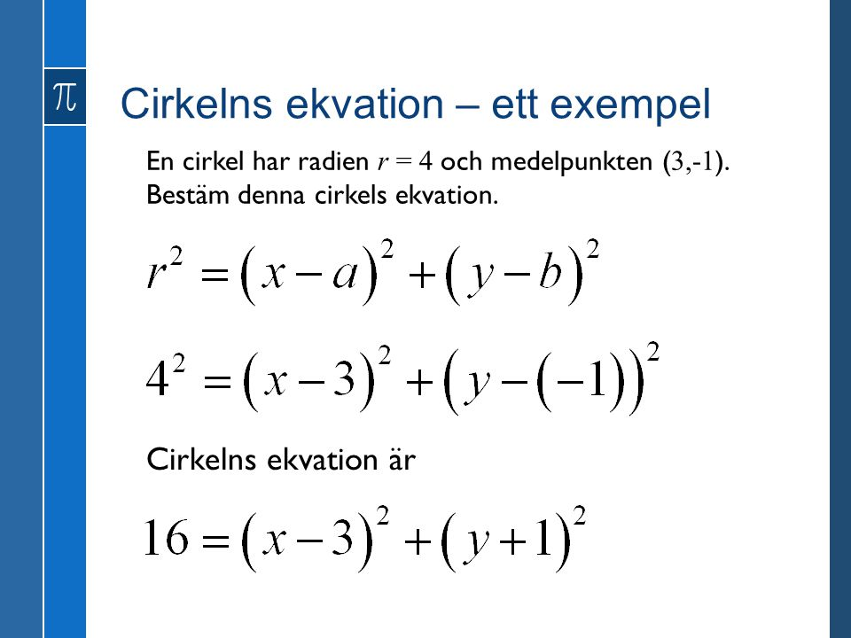 Cirkelns ekvation – ett exempel