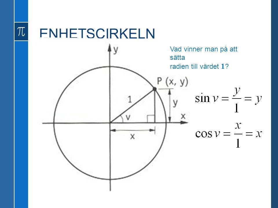 ENHETSCIRKELN Vad vinner man på att sätta radien till värdet 1
