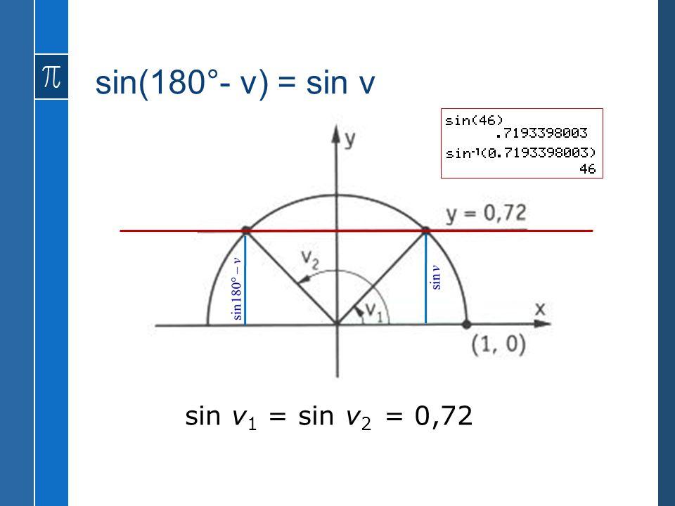 sin(180°- v) = sin v sin v1 = sin v2 = 0,72