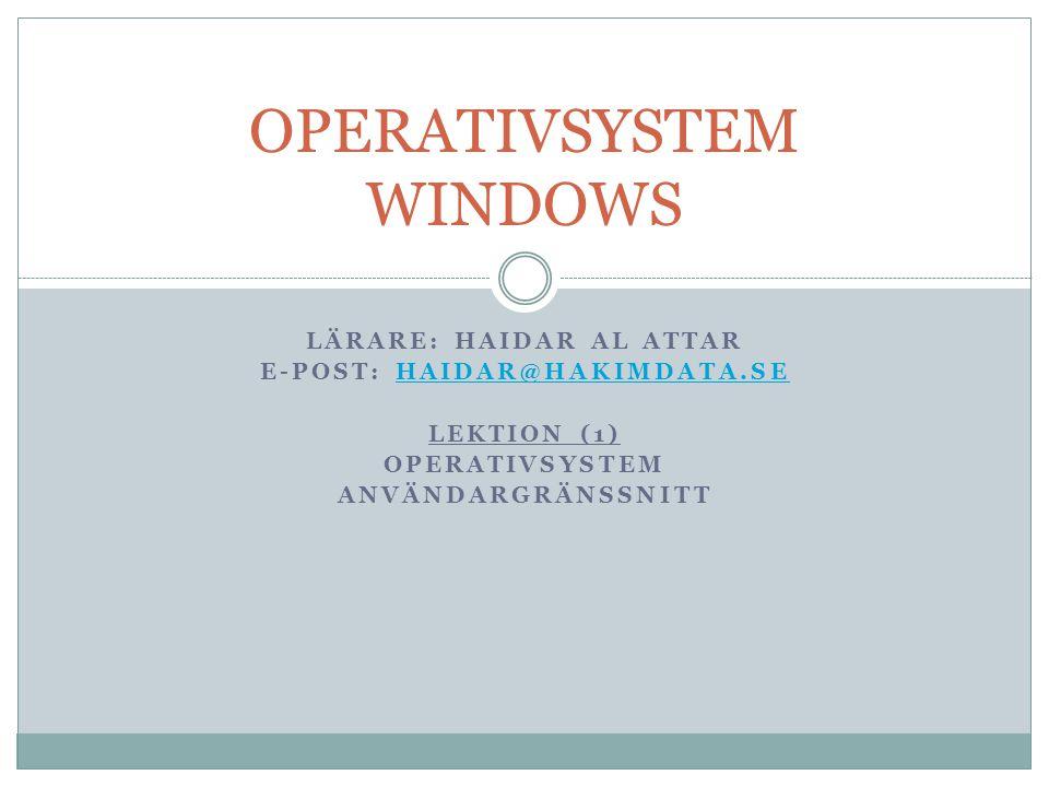 OPERATIVSYSTEM WINDOWS