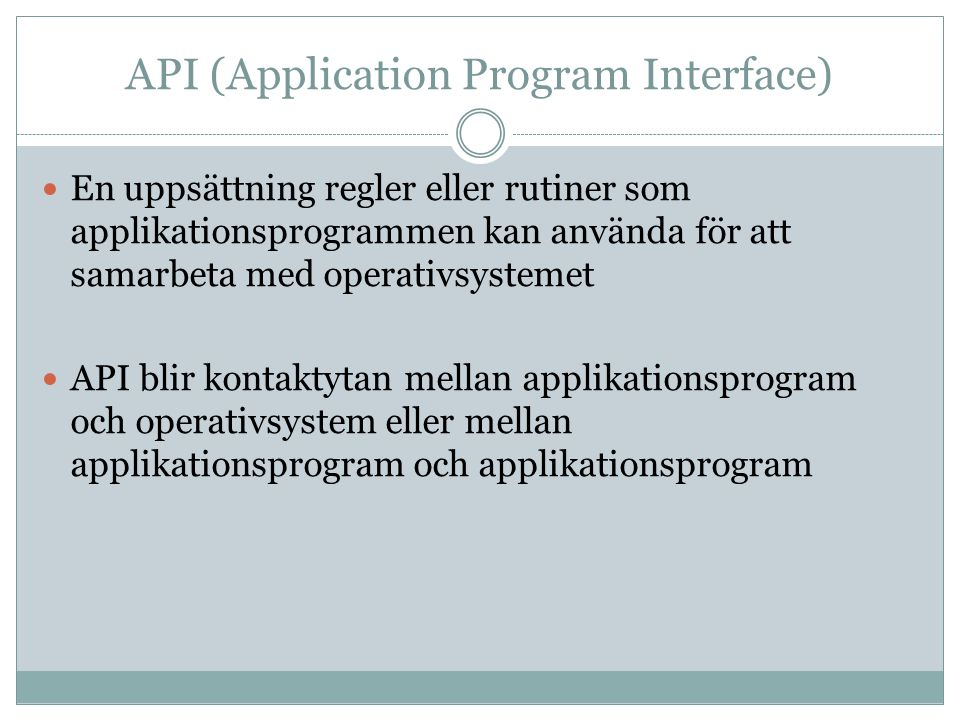 API (Application Program Interface)