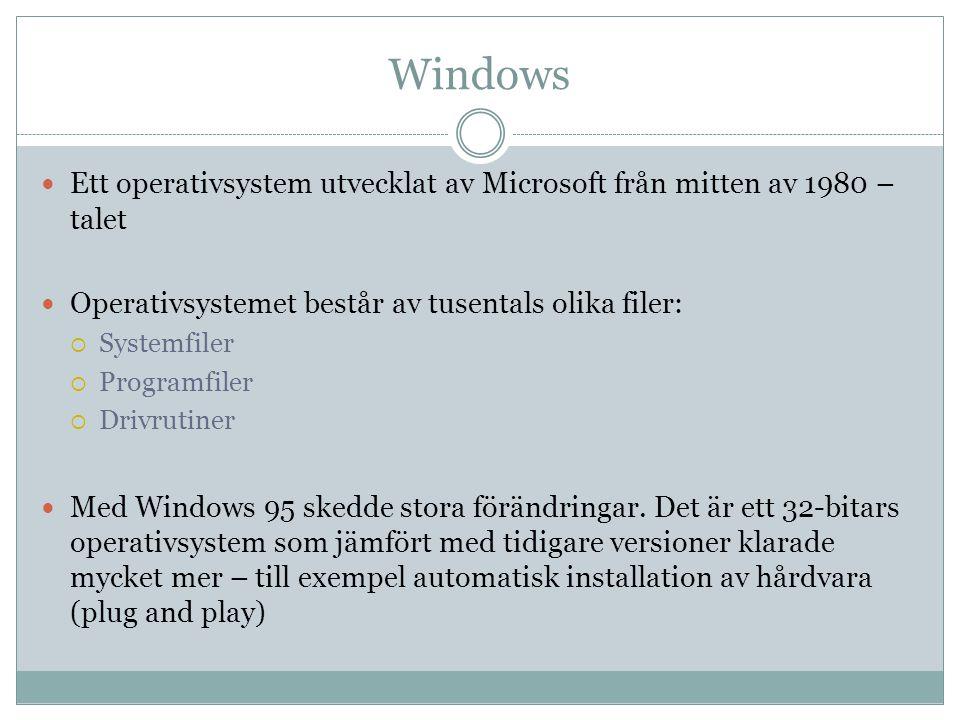 Windows Ett operativsystem utvecklat av Microsoft från mitten av 1980 – talet. Operativsystemet består av tusentals olika filer: