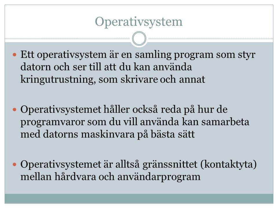 Operativsystem Ett operativsystem är en samling program som styr datorn och ser till att du kan använda kringutrustning, som skrivare och annat.