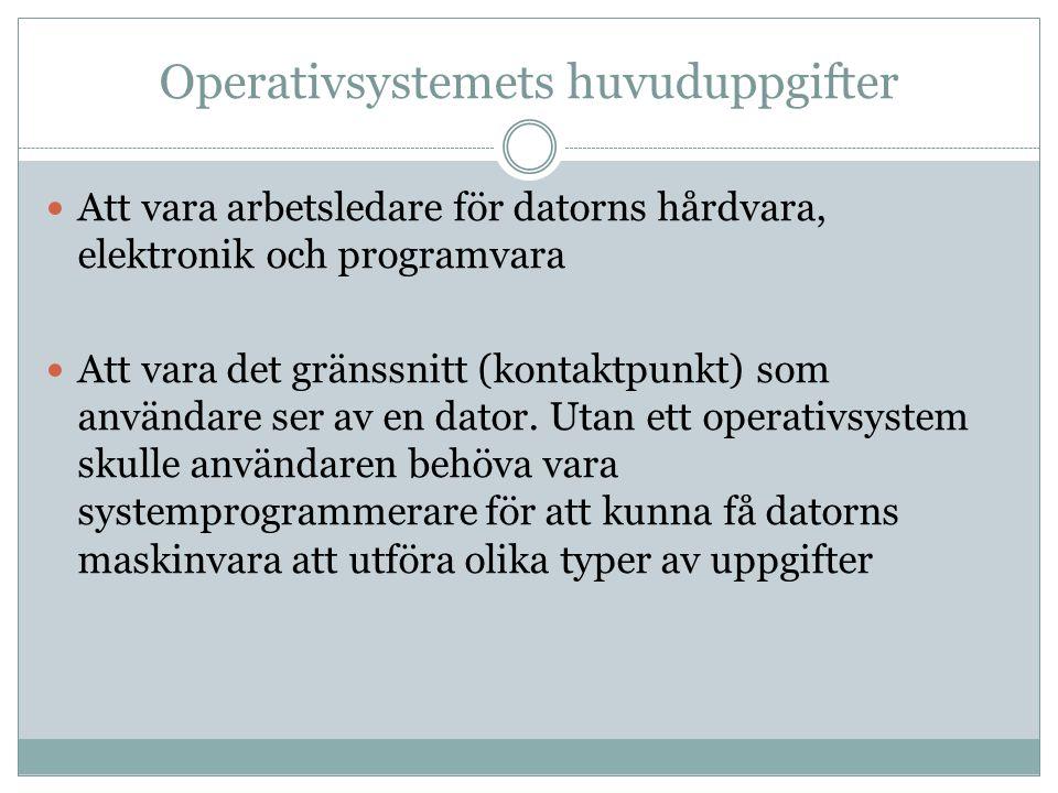 Operativsystemets huvuduppgifter