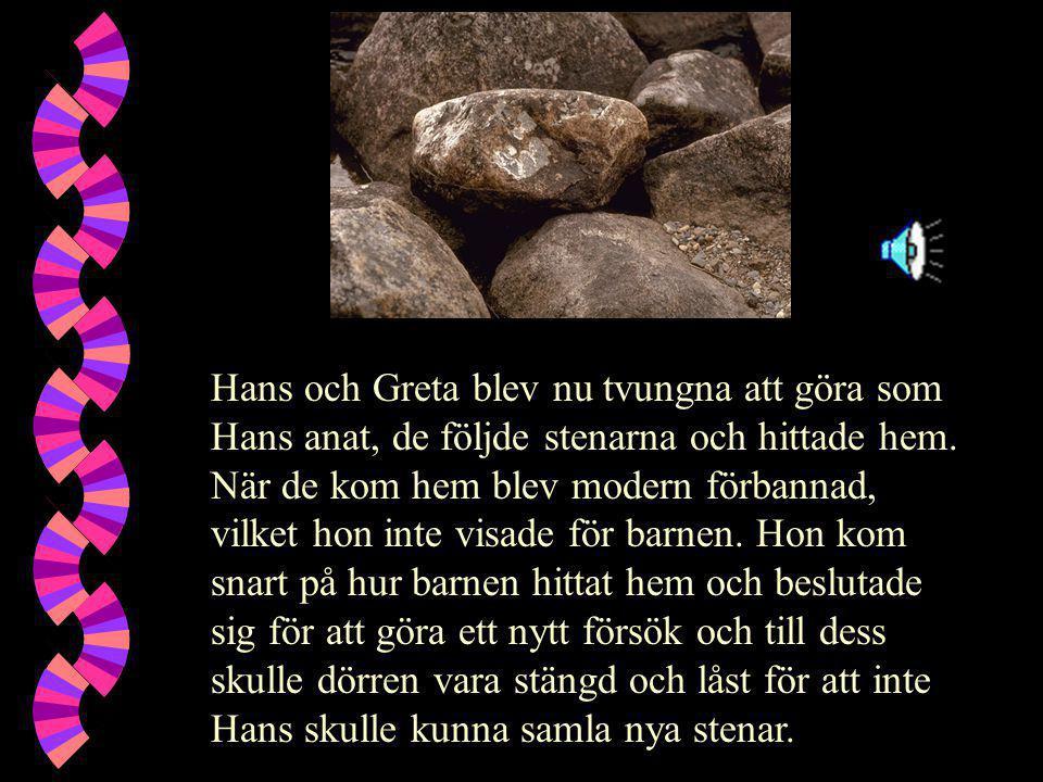 Hans och Greta blev nu tvungna att göra som Hans anat, de följde stenarna och hittade hem.