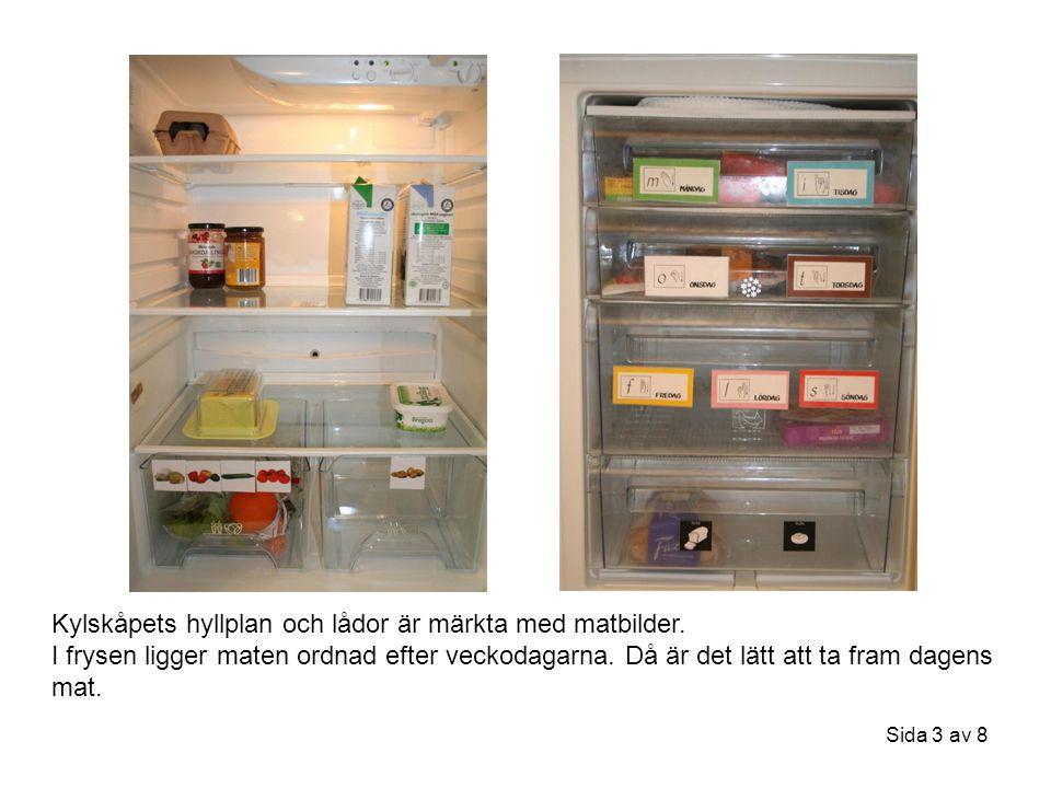 Kylskåpets hyllplan och lådor är märkta med matbilder