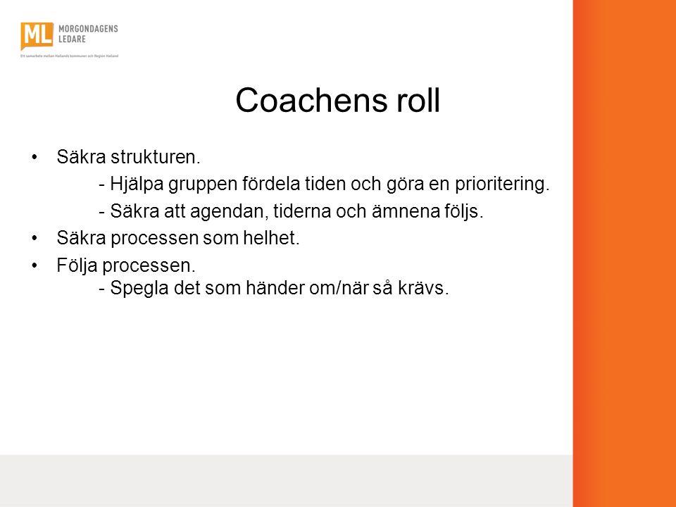 Coachens roll Säkra strukturen.