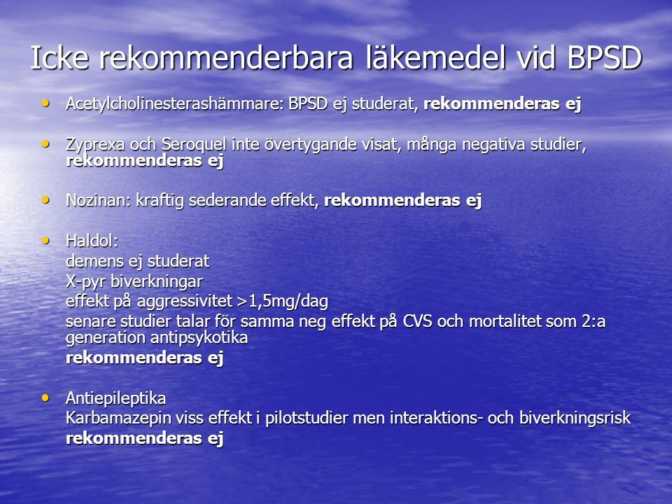 Icke rekommenderbara läkemedel vid BPSD