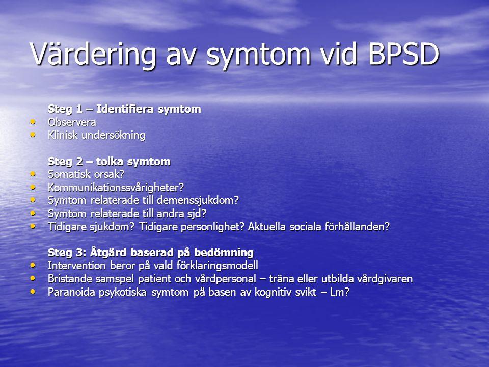 Värdering av symtom vid BPSD