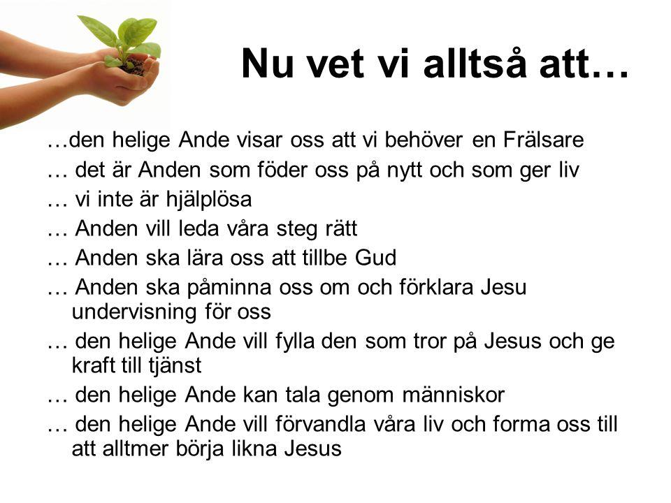 Nu vet vi alltså att… …den helige Ande visar oss att vi behöver en Frälsare. … det är Anden som föder oss på nytt och som ger liv.