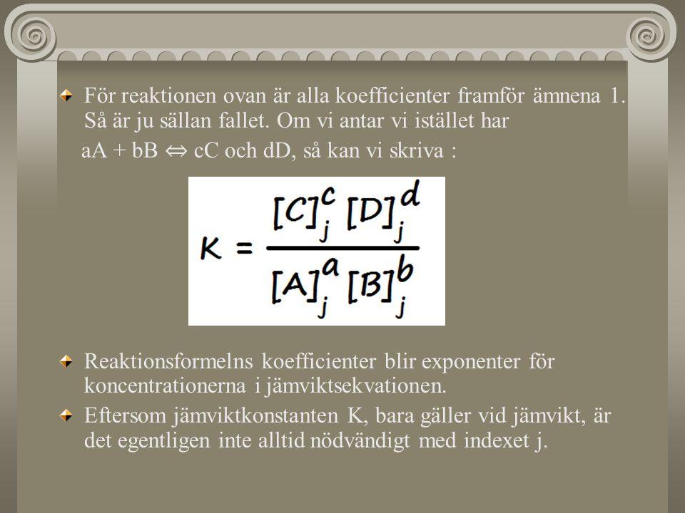 För reaktionen ovan är alla koefficienter framför ämnena 1