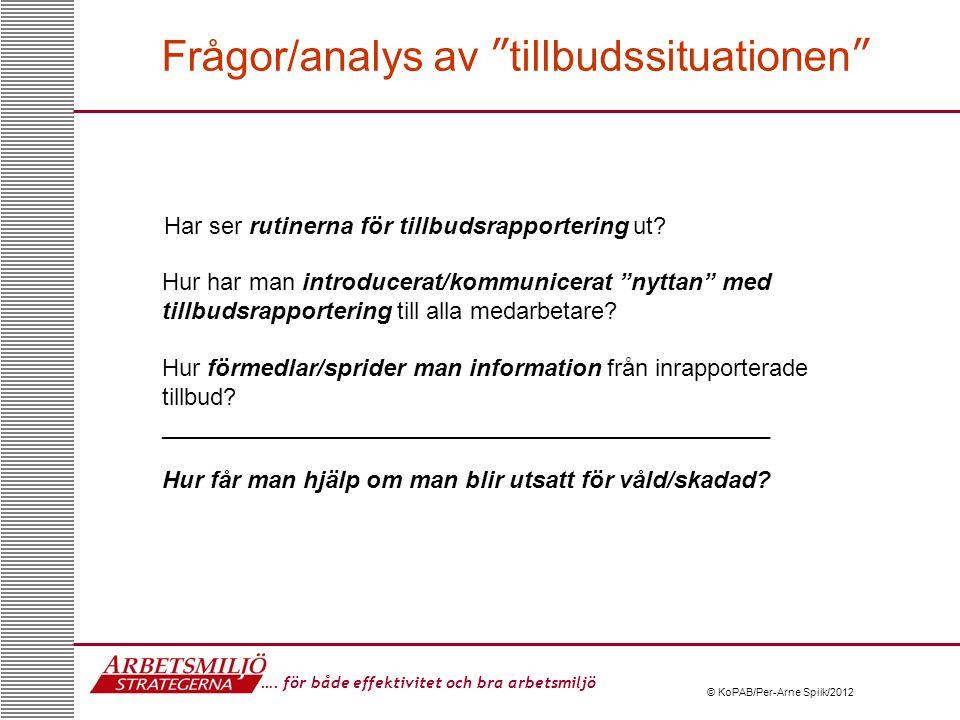 Frågor/analys av tillbudssituationen