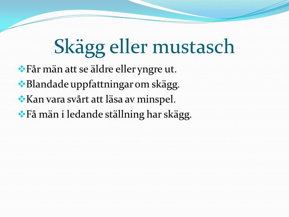 Skägg eller mustasch Får män att se äldre eller yngre ut.