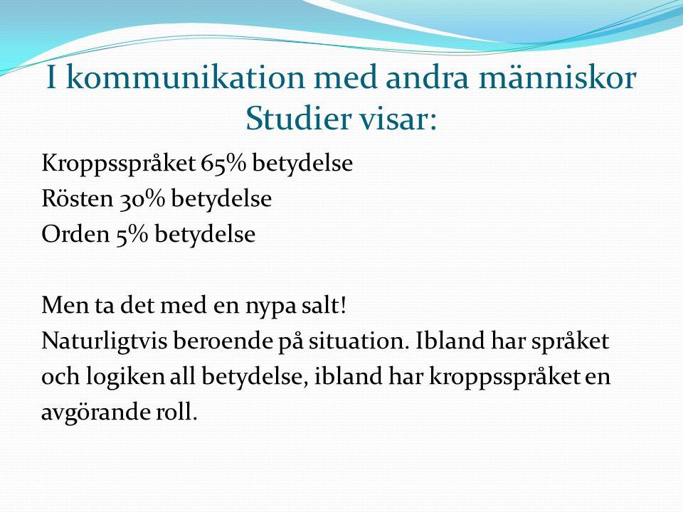 I kommunikation med andra människor Studier visar: