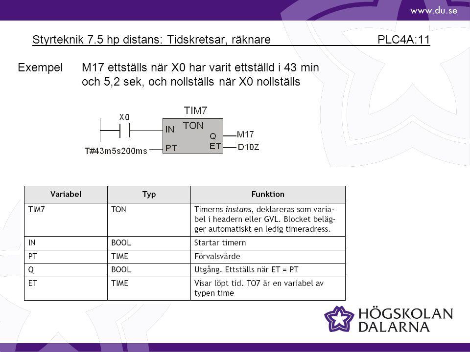 Styrteknik 7.5 hp distans: Tidskretsar, räknare PLC4A:11