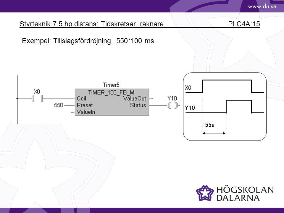Styrteknik 7.5 hp distans: Tidskretsar, räknare PLC4A:15