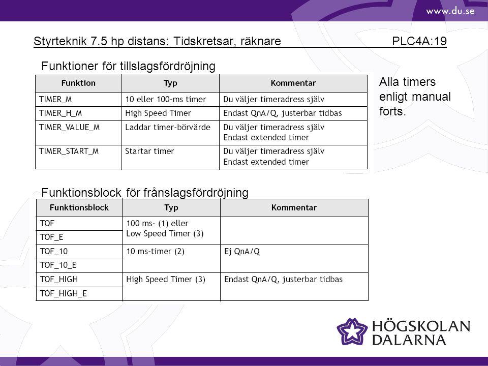Styrteknik 7.5 hp distans: Tidskretsar, räknare PLC4A:19
