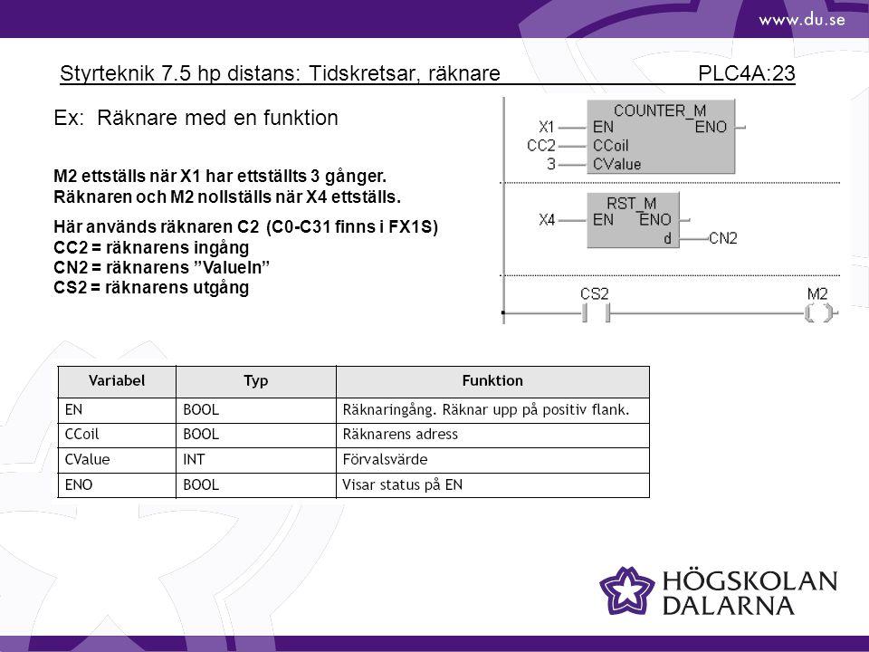 Styrteknik 7.5 hp distans: Tidskretsar, räknare PLC4A:23