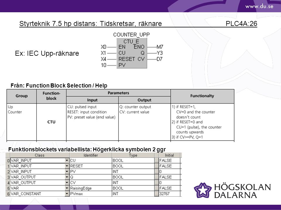 Styrteknik 7.5 hp distans: Tidskretsar, räknare PLC4A:26